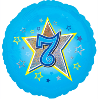 Blue Stars Number 7 Balloon in a Box