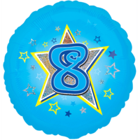 Blue Stars Number 8 Balloon in a Box