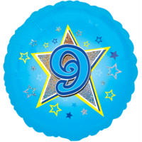 Blue Stars Number 9 Balloon in a Box