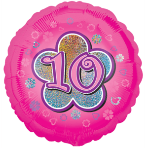 Pink Flowers 10th Birthday Balloon in a Box