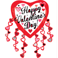 "31"" Happy Valentine Heart Streamers Balloon in a Box"