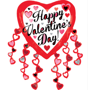 """31"""" Valentine Heart Streamers Balloon in a Box"""