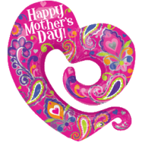 Swirly Mothers Day Heart SuperShape Balloon in a Box