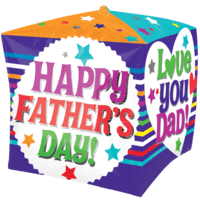 "15"" Father's Day Top Dad Cubez Balloon in a Box"