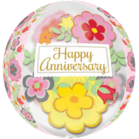 Bold Flowers Anniversary Orbz Balloon in a Box