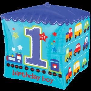 Blue 1st Birthday Cube Balloon in a Box