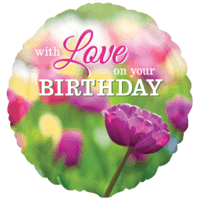 "18"" With Love On Your Birthday Flower Balloon in a Box"