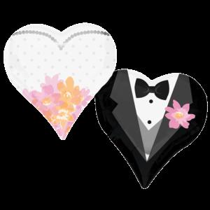 """30"""" Wedding Couple Hearts Balloon in a Box"""