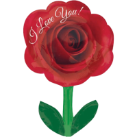 "28"" I Love You Rose With Stem Balloon in a Box"