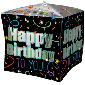 "15"" Happy Birthday To You Cubez Balloon in a Box"