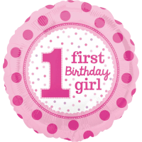 Pink Spots 1st Birthday Balloon in a Box
