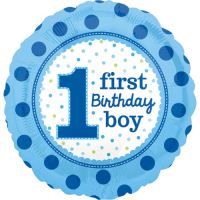 Blue Spots 1st Birthday Balloon in a Box