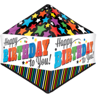 "21"" Colourful Stripes & Stars Happy Birthday Balloon in a Box"