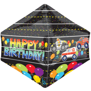 "21"" Happy Birthday Emergency Vehicles Anglez Balloon in a Box"