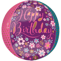 "16"" Dainty Floral Happy Birthday Orbz Balloon in a Box"