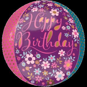 Happy Birthday Flowers & Polka Dots Orbz