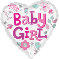 Baby Girl Heart & Flowers Balloon in a Box