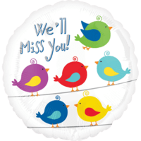 "18"" We'll Miss You Colourful Birds Balloon in a Box"