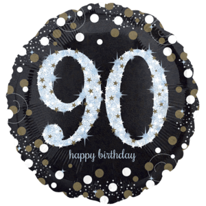"""18"""" Black & Gold 90th Celebrations Balloon in a Box"""