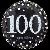 "18"" Black & Gold 100th Birthday Balloon in a Box"