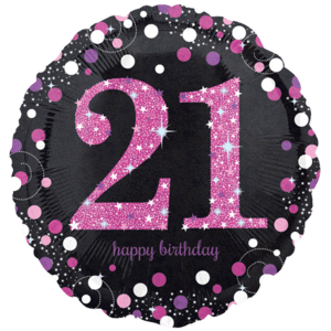 Pink Prismatic 21st Balloon in a Box