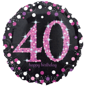 """18"""" Pink 40th Celebration Balloon in a Box"""