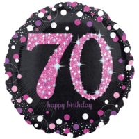 "18"" Black & Pink 70th Celebrations Balloon in a Box"