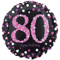 "18"" Black & Pink 80th Celebrations Balloon in a Box"