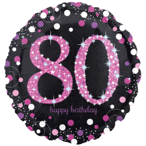 """18"""" Black & Pink 80th Celebrations Balloon in a Box"""