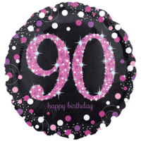 "18"" Black & Pink 90th Celebrations Balloon in a Box"