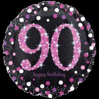 "18"" Black & Pink 90th Birthday Balloon in a Box"