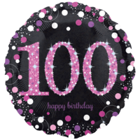 "18"" Black & Pink 100th Celebrations Balloon in a Box"