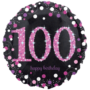 """18"""" Black & Pink 100th Celebrations Balloon in a Box"""
