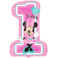 "28"" Minnie 1st Birthday SuperShape Balloon in a Box"