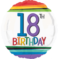 18th Birthday Rainbow Stripes Balloon in a Box