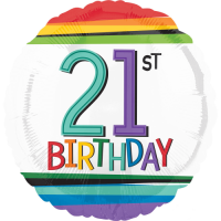 21st Birthday Rainbow Stripes Balloon in a Box
