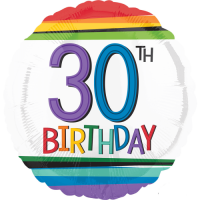 30th Birthday Rainbow Stripes Balloon in a Box