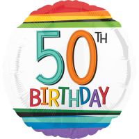 50th Birthday Rainbow Stripes Balloon in a Box
