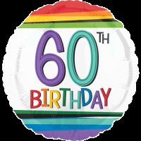 60th Birthday Rainbow Stripes Balloon in a Box