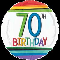 70th Birthday Rainbow Stripes Balloon in a Box