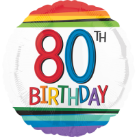 80th Birthday Rainbow Stripes Balloon in a Box