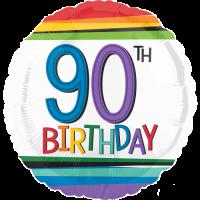 90th Birthday Rainbow Stripes Balloon in a Box