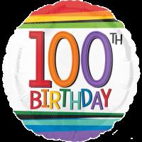 100th Birthday Rainbow Stripes Balloon in a Box