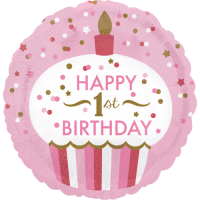 1st Birthday Cupcake Girl  Balloon in a Box