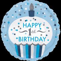 1st Birthday Cupcake Boy  Balloon in a Box