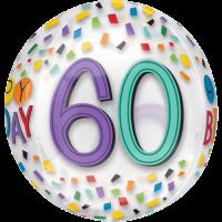 Confetti 60th Birthday Clear Orbz Balloon in a Box
