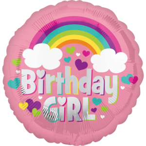 Birthday Girl Rainbow & Hearts Balloon in a Box