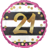 Pink & Gold 21st Birthday Dots Balloon in a Box