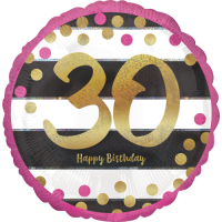 Pink & Gold 30th Birthday Dots Balloon in a Box