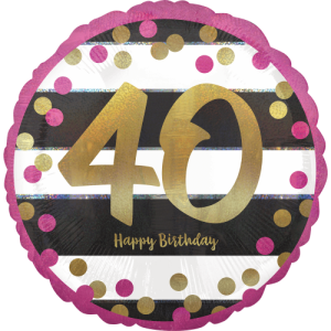 Pink & Gold 40th Birthday Dots Balloon in a Box